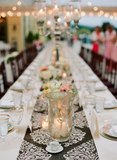 Damask Table Runner - Elegant! On http://www.StyleMePretty.com/mid-atlantic-weddings/2014/03/31/blush-pink-wedding-at-keswick-hall/ Photography: JenFariello.com