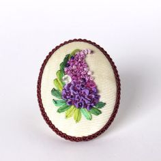 Handicraft Antique Unique Silk Ribbon Embroidery Brooch Pin Lilac