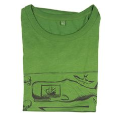 The Mens Moby T-Shirt invokes images of a bygone classic age. Think an old salty sailor, sitting on a tall ship, scrimshawing away tales and pictures of his travels on an old whale tooth. Sperm whale, harpoon, albatross and a few skulls motifs, all images from days spent earning a crust on the treacherous high seas.
