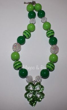 St. Patrick's Day Chunky Bead Necklace w/ shamrock green and rhinestones on Etsy, $19.00