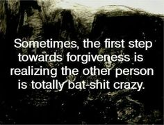 Sometimes, the first step towards forgiveness is realizing the other person is totally b at - shit crazy.