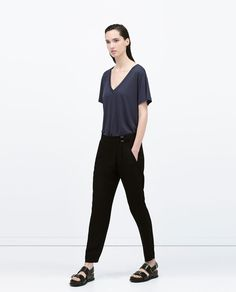 ZARA - WOMAN - V-NECK T-SHIRT~ Lyocell $25.90 (other colours: charcoal, grey, white)
