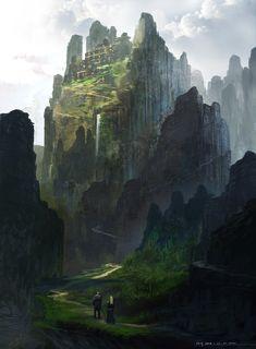 Um sketch do Feng Zhu. Cenários de Fantasia. Mais em: http://fengzhudesign.blogspot.com/