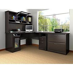Twilight Desk with Three Drawers Computer Hutch by Vaughan