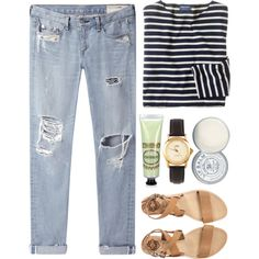 Rag & Bone boyfriend jeans // J. Crew L/S // SOLSANA leather sandals // American Apparel watch