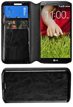 myLife Black {Classic Design) Faux Leather (Multipurpose - Card, Cash and ID Holder + Magnetic Closing) Folio Slimfold Wallet for the LG G2 ...