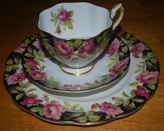 Queen Anne china  Black Magic pattern 3 piece set by capecodgypsy