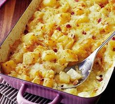 Cheesy Swiss bake. A hearty Alpine-style bake with rich cheese and smoky bacon – ideal after a day on the slopes…or just a walk round the park