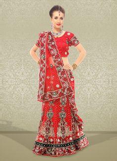 Fancy Red Net Embroidered #Lehenga Choli #bridallehenga #weddinglehengas #ethnicwear #womenapparel #womenfashion