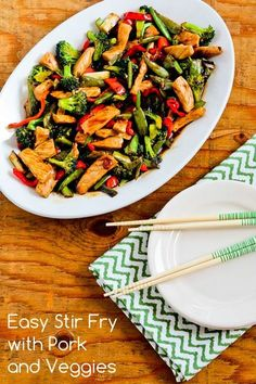 Recipe for Easy Stir Fry with Pork and Veggies; this recipe has the principles for Chinese cooking that I learned years ago when I took a class in it!  [from Kalyn's Kitchen]