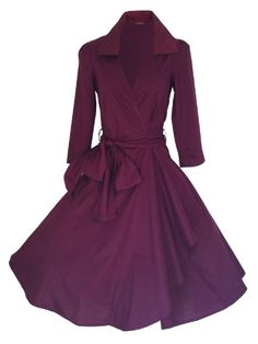 BURGUNDY 50's STYLE ROCKABILLY / SWING / PIN UP COTTON WRAP EVENING PARTY DRESS SIZES 8 - 22 (16) look for the stars http://www.amazon.co.uk/dp/B00GBA810Y/ref=cm_sw_r_pi_dp_4LNoub049VXY3