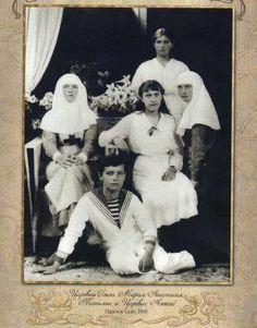 Grand Duchess Olga, Tsarevich Alexei, Grand Duchesses Anastasia, Maria and Tatiana: Tsarskoe Selo, 1916.