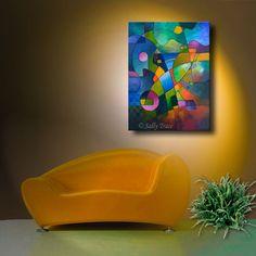 Impresión de Giclee en lona de mi pintura original de geométrico abstracto que ha vendido.  Dirección norte una hermosa imagen con colores brillantes, geométricos.  30 x 40 pulgadas, 1,5 pulgadas de profundidad. Impreso con tintas de pigmento Epson rico, vivas en un lienzo brillante polivinílico-algodón grueso calidad de archivo que es PH neutro y libre de ácido. La imagen es espejo envuelto alrededor 1.5 barras del ensanchador de madera profundo secado al horno. Profesionalmente barnizado…
