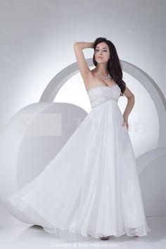 White Spring/ Fall A-Line Soft Sweetheart Floor-length Chiffon Beach Wedding Dresses