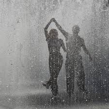 Dancing in the rain together!
