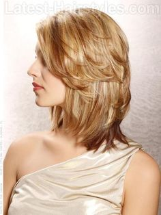 Layered Softly Medium Length Blonde Bob with Loose Layers - Side View