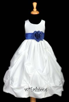 White Flower Girl Dress | White Royal Blue Wedding Easter Flower Girl Dress 6M 9 12M18M 2 3 4 5 ...