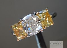 1.40ct G SI1 Cushion Cut Diamond Center and 1.66ct Fancy Intense Yellow SI2 Cushion Cut Three Stone Ring GIA $23,295 -SR