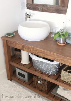 DIY - The final dimensions of this exact vanity are 29 3/4″ high, 23″ deep and 63″ long. -