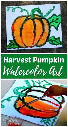 Harvest pumpkin watercolor art project - an easy fall painting idea for kids and adults. Kids from preschool age and up will enjoy the salt painting technique used to create this raised watercolor autumn art. Autumn Painting, Autumn Art, Painting For Kids, Preschool Painting, Projects For Kids, Crafts For Kids, Arts And Crafts, Fall Art Projects, Project Ideas