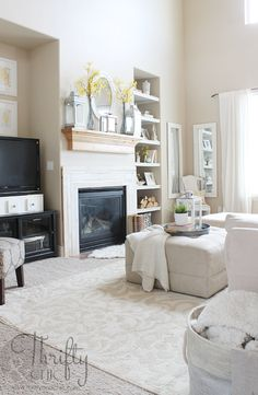 Living room decor from Thrifty and Chic summer home tour