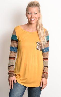 Mustard Striped Sleeve Raglan