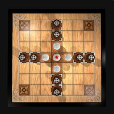 Brandubh 7x7 board From Ireland To play: http://www.jocly.com/#/play/tafl-brandubh