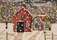 Purple Door Winter ORIGINAL Canvas Panel PAINTING Folk Art 5 x 7 Karla Gerard #FolkArtAbstractPrimitive