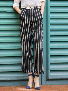 Black Polyester Stripes Casual Wide Leg Pants
