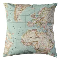 World Map Pillow cover in red color. 26x26 and 27x27 by WIKIPILLOW, €15.00