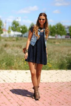 Black t shirt dress + denim vest