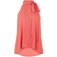 Mid Pink Pussy Bow Crepe Blouse ($28) ❤ liked on Polyvore featuring tops, blouses, mid pink, red top, cut-out tops, pussy bow blouses, cutout blouse and cutout top