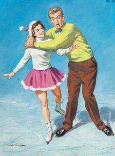 ARTHUR SARON SARNOFF (American, 1912-2000). Ice Skating Fun American Weekly cover, February 1, 1953