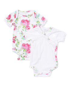 Look at this #zulilyfind! Floral & White Bodysuit Set - Infant #zulilyfinds