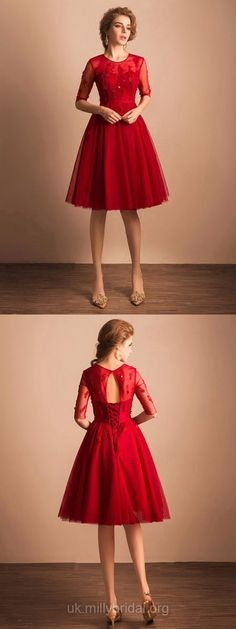 Red Prom Dresses Short, 2018 Cocktail Dresses For Teens, Cheap Homecoming Dresses A-line, Scoop Neck Tulle Party Dresses Knee-length, 1/2 Sleeve Pageant Dresses Modest