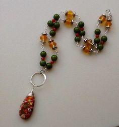 Orange Sea Sediment Teardrop Necklace  - Jewelry creation by Bejeweled Lady