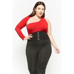 Forever 21 Plus Size One-Shoulder Bodysuit  Red ($28) ❤ liked on Polyvore featuring plus size women's fashion, plus size clothing, plus size intimates, plus size shapewear and red