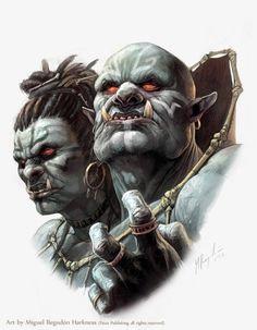 Ettin Shaman-Migue Regodon by MiguelRegodon on DeviantArt Troll, Character Concept, Character Art, Concept Art, Epic Characters, Fantasy Characters, Dark Fantasy, Fantasy Art, Dnd Monsters