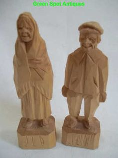 Two Wood Hand Carved Figurines, Old Man And Woman, Signed on http://greenspotantiques.com