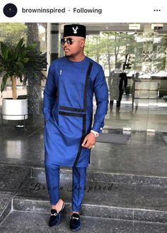 Nigerian Men Just Stepped Up Their Agbada Game on Fashion - WearitAfrica African Dresses Men, African Attire For Men, African Clothing For Men, African Shirts, African Wear, Nigerian Men Fashion, African Men Fashion, Native Fashion, Ankara Fashion