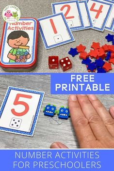 Add these free printable 1-12 number cards, counters, & dice to an Altoids tin or soap container to create fun math activities for your classroom. Perfect for preschool or pre-k, or at home learning. You can use the printables with your kids for a variety of math learning & counting activities. Ideas for learning games and activities are included. Use for your math centers and stations, as a take-home activity, as a screen-free activity at restaurants, or as a student gift. Preschool Art Activities, Counting Activities, Free Preschool, Number Activities, Learning Numbers, Learning Games, Early Learning, Free Printable Numbers, Math Work