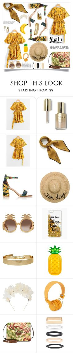 """""""Floral Print Surplice Self Tie Waist Dress ↓ SET MUST INCLUDE THIS LINK ↓"""" by violet-peach ❤ liked on Polyvore featuring Stila, Mulberry, Eugenia Kim, Gucci, Queen Bee, Sunnylife, Lizzie Fortunato, Urbanears, Patricia Nash and Accessorize"""