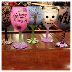 """Check out these awesome wine glasses my talented employees did for adirondack winery's first ever """"uncork & craft"""" night - sold out!"""