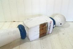 Vintage Chippy White Paint Solid Wood Tall Newel by DivineOrders, $85.00
