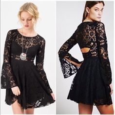 Black Free People Lace Dress Black lace free people dress!! New with tags. Cute back detail and winged sleeves. MAKE AN OFFER :) Free People Dresses Mini