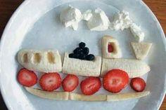 A chu chu train of strawberries and bananas