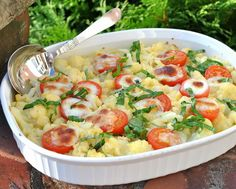 Cheesy Cauliflower Casserole with Caprese Tomatoes, another Easy Summer recipe @ AVeggieVenture.com. Low Carb. WW4. Vegetarian.