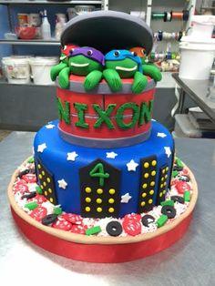 Turtle Cakes, Ninja, Birthday Cake, Desserts, Food, Tailgate Desserts, Deserts, Birthday Cakes, Essen