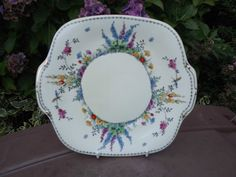 Vintage Crown Staffordshire China large bread plate in Hollyhock Cottage Garden