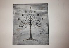 "Tree of Gondor Wall Hanging -- Lord of the Rings Home Decor | $45.00 | Made with 4 separate aged and weathered planks of wood fashioned together and measures approximately 14"" x 12"". A sawtooth hanger is placed on back."